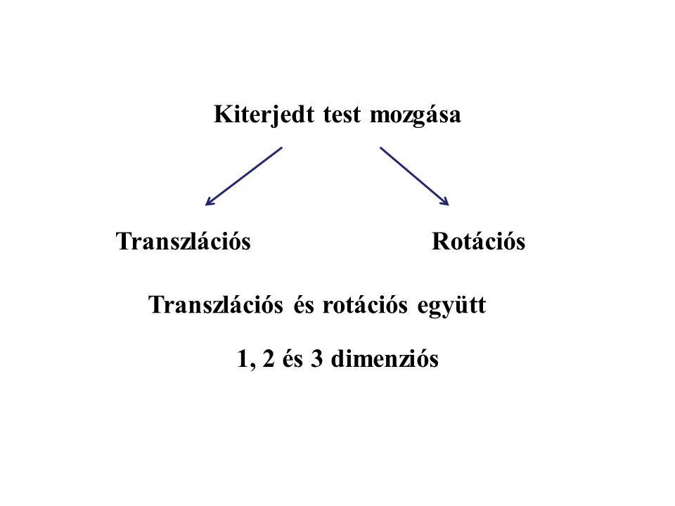 Kiterjedt test mozgása TranszlációsRotációs 1, 2 és 3 dimenziós Transzlációs és rotációs együtt