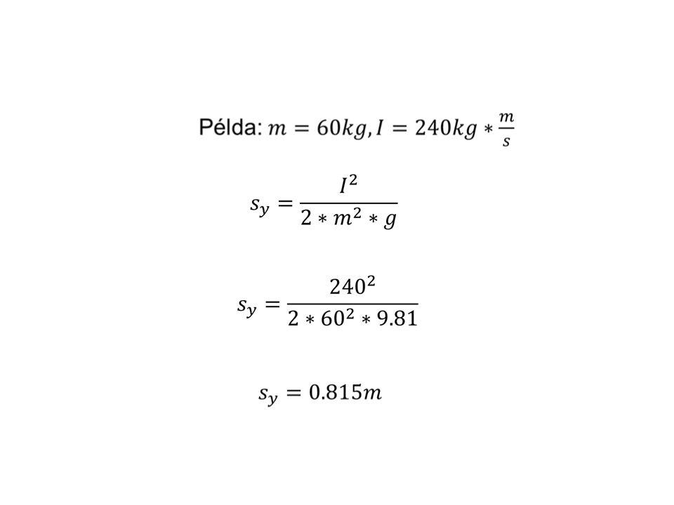I Az erő-idő görbék meghatározott és számított változói F t cc t l Felugrási magasság meghatározása impulzus felhasználásával t F I=F ·t (Az impulzus