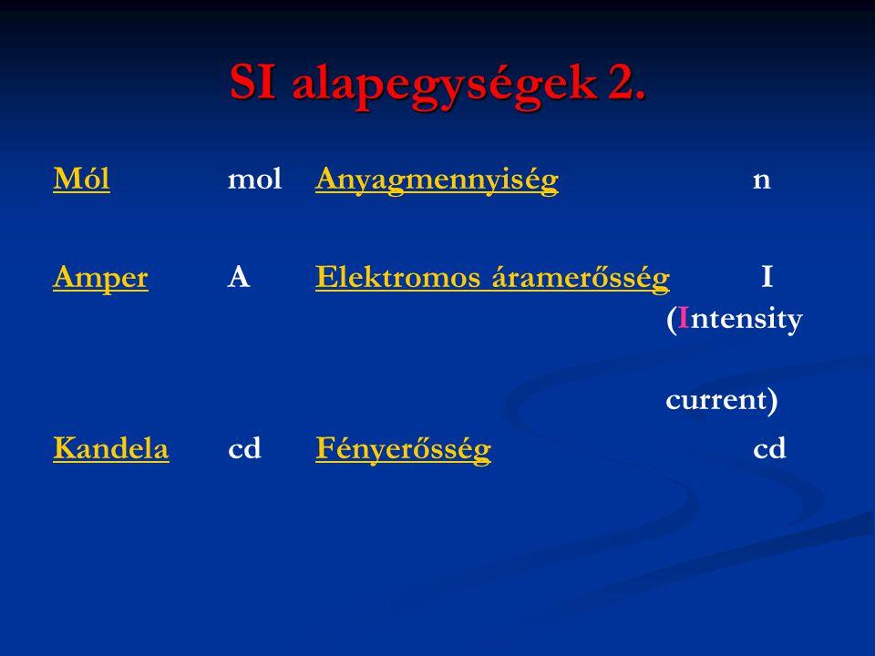 SI alapegységek 2. MólMól molAnyagmennyiség nAnyagmennyiség AmperAmper A Elektromos áramerősség I (Intensity current)Elektromos áramerősség KandelaKan