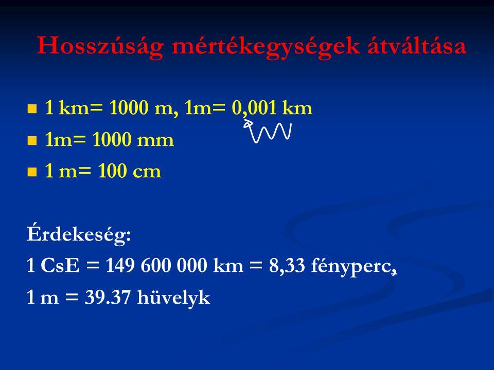 Hosszúság mértékegységek átváltása   1 km= 1000 m, 1m= 0,001 km   1m= 1000 mm   1 m= 100 cm Érdekeség: 1 CsE = 149 600 000 km = 8,33 fényperc, 1