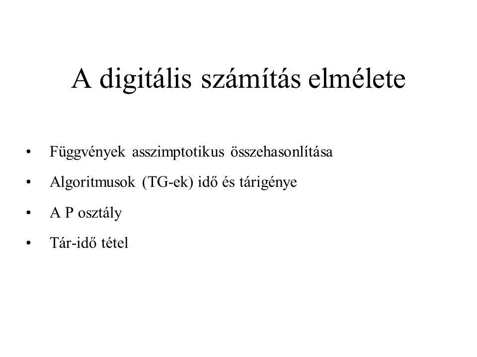 A digitális számítás elmélete •Függvények asszimptotikus összehasonlítása •Algoritmusok (TG-ek) idő és tárigénye •A P osztály •Tár-idő tétel