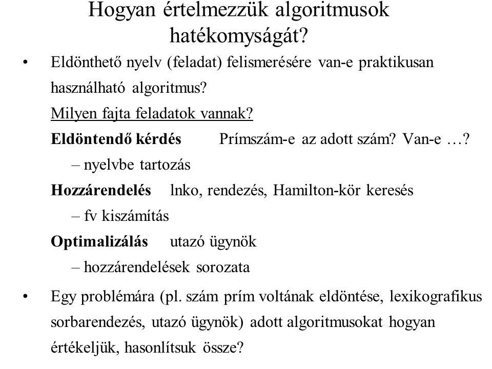 Hogyan értelmezzük algoritmusok hatékomyságát? •Eldönthető nyelv (feladat) felismerésére van-e praktikusan használható algoritmus? Milyen fajta felada