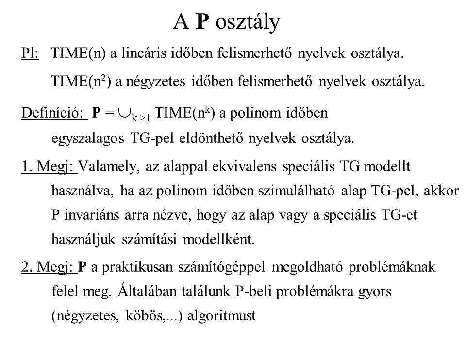 A P osztály Pl: TIME(n) a lineáris időben felismerhető nyelvek osztálya. TIME(n 2 ) a négyzetes időben felismerhető nyelvek osztálya. Definíció: P = 