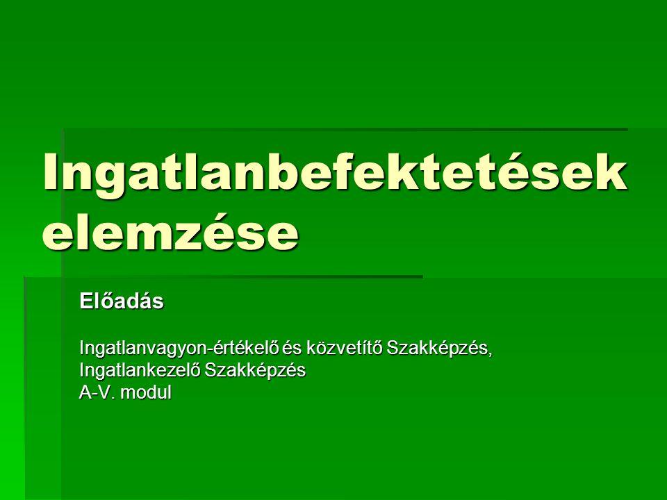 Ingatlanbefektetések elemzése Előadás Ingatlanvagyon-értékelő és közvetítő Szakképzés, Ingatlankezelő Szakképzés A-V. modul