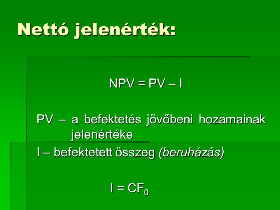 Nettó jelenérték: NPV = PV – I PV – a befektetés jövőbeni hozamainak jelenértéke I – befektetett összeg (beruházás) I = CF 0