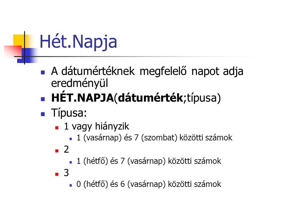 Hét.Napja  A dátumértéknek megfelelő napot adja eredményül  HÉT.NAPJA(dátumérték;típusa)  Típusa:  1 vagy hiányzik  1 (vasárnap) és 7 (szombat) k