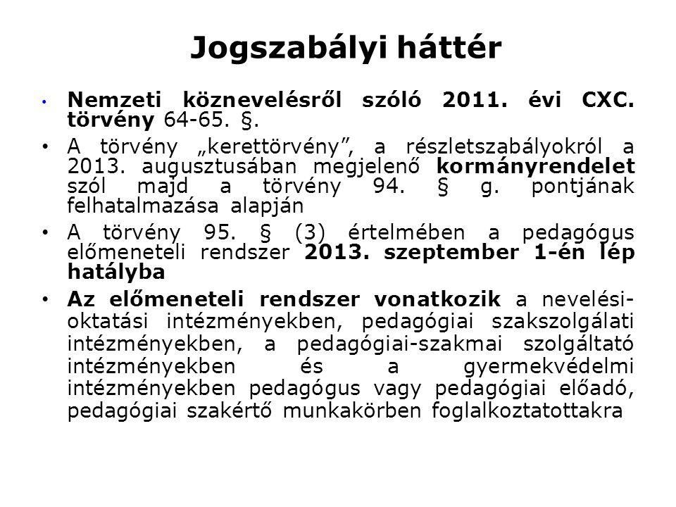 """Jogszabályi háttér • Nemzeti köznevelésről szóló 2011. évi CXC. törvény 64-65. §. • A törvény """"kerettörvény"""", a részletszabályokról a 2013. augusztusá"""