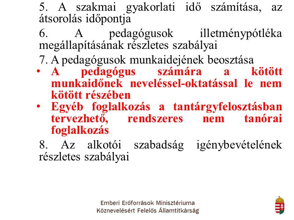 Emberi Erőforrások Minisztériuma Köznevelésért Felelős Államtitkárság 5. A szakmai gyakorlati idő számítása, az átsorolás időpontja 6. A pedagógusok i