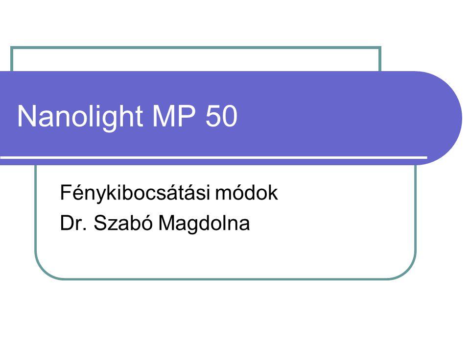 Nanolight MP 50 Fénykibocsátási módok Dr. Szabó Magdolna
