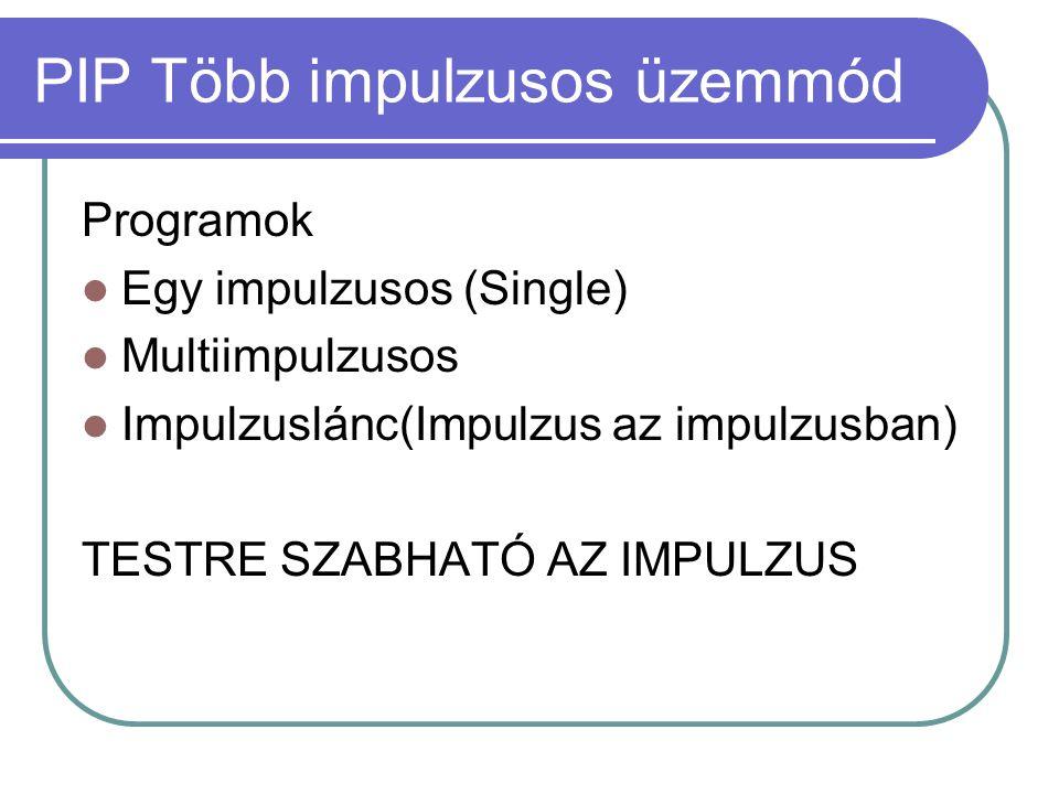 PIP Több impulzusos üzemmód Programok  Egy impulzusos (Single)  Multiimpulzusos  Impulzuslánc(Impulzus az impulzusban) TESTRE SZABHATÓ AZ IMPULZUS