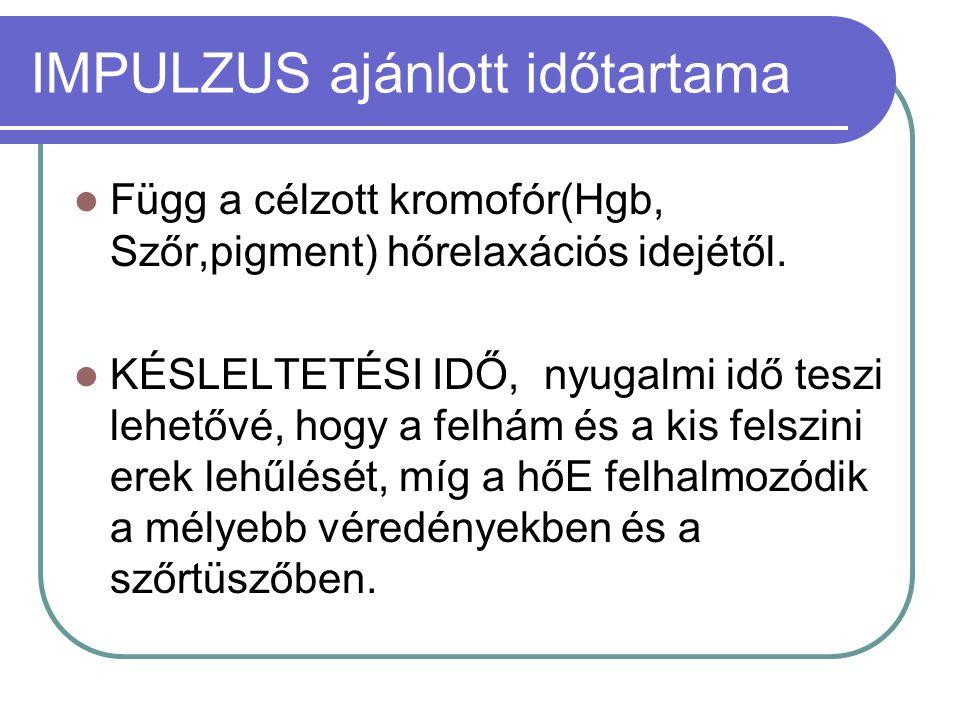 IMPULZUS ajánlott időtartama  Függ a célzott kromofór(Hgb, Szőr,pigment) hőrelaxációs idejétől.