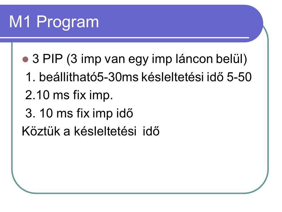 M2 Program  2-6 PIP-es üzemmód : 2-6 al imp között választható  Egyes PIP impulzus tartama 1-8ms között  Al-impulzusok közötti késleltetési idő is választható 5-50ms között.
