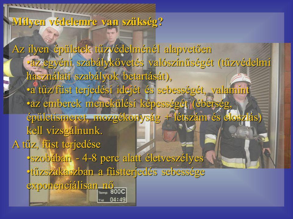 Milyen védelemre van szükség? Az ilyen épületek tűzvédelménél alapvetően •az egyéni szabálykövetés valószínűségét (tűzvédelmi használati szabályok bet