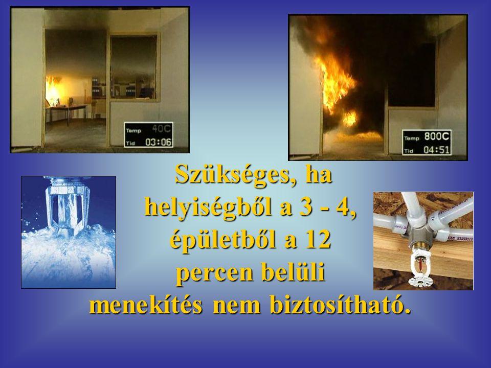 Szükséges, ha helyiségből a 3 - 4, épületből a 12 percen belüli menekítés nem biztosítható.