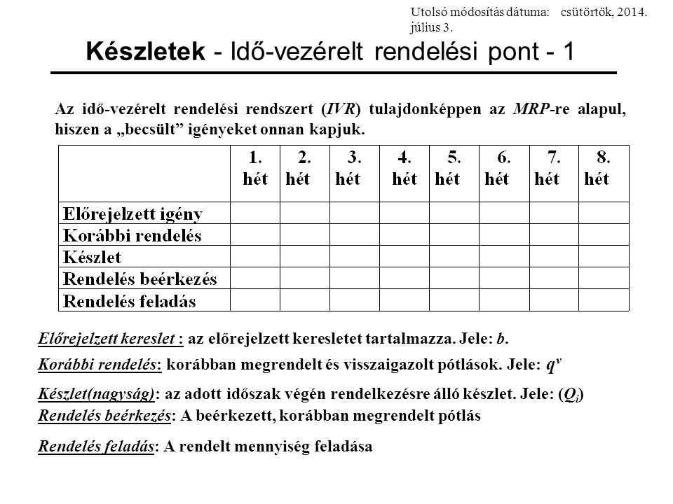 Készletek - Idő-vezérelt rendelési pont - 2 Egyszerűség kedvéért tegyük fel, hogy a következő 8 héten át az igény változatlan, s hetente 100 egység.
