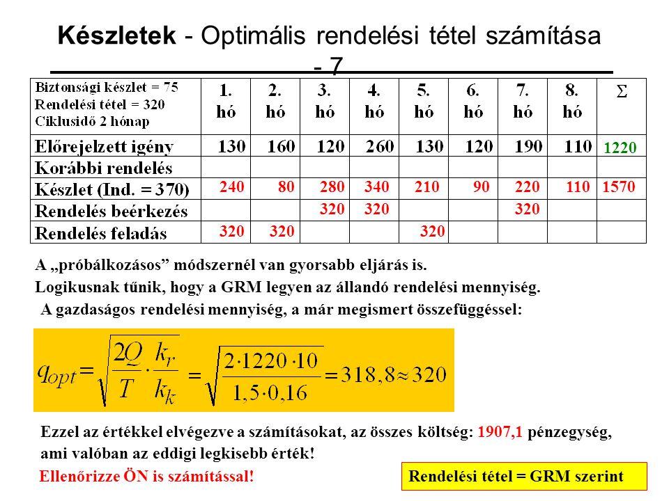 """Készletek - Optimális rendelési tétel számítása - 7 1220 24080 320 280 320 34021090220 320 1101570 A """"próbálkozásos"""" módszernél van gyorsabb eljárás i"""