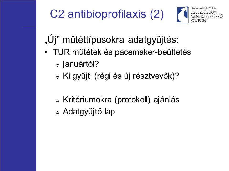 """C2 antibioprofilaxis (2) """"Új"""" műtéttípusokra adatgyűjtés: •TUR műtétek és pacemaker-beültetés  januártól?  Ki gyűjti (régi és új résztvevők)?  Krit"""