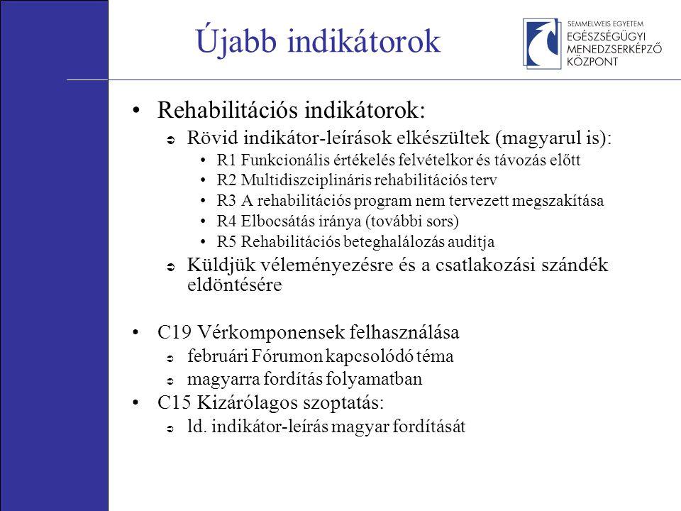 Újabb indikátorok •Rehabilitációs indikátorok:  Rövid indikátor-leírások elkészültek (magyarul is): •R1 Funkcionális értékelés felvételkor és távozás