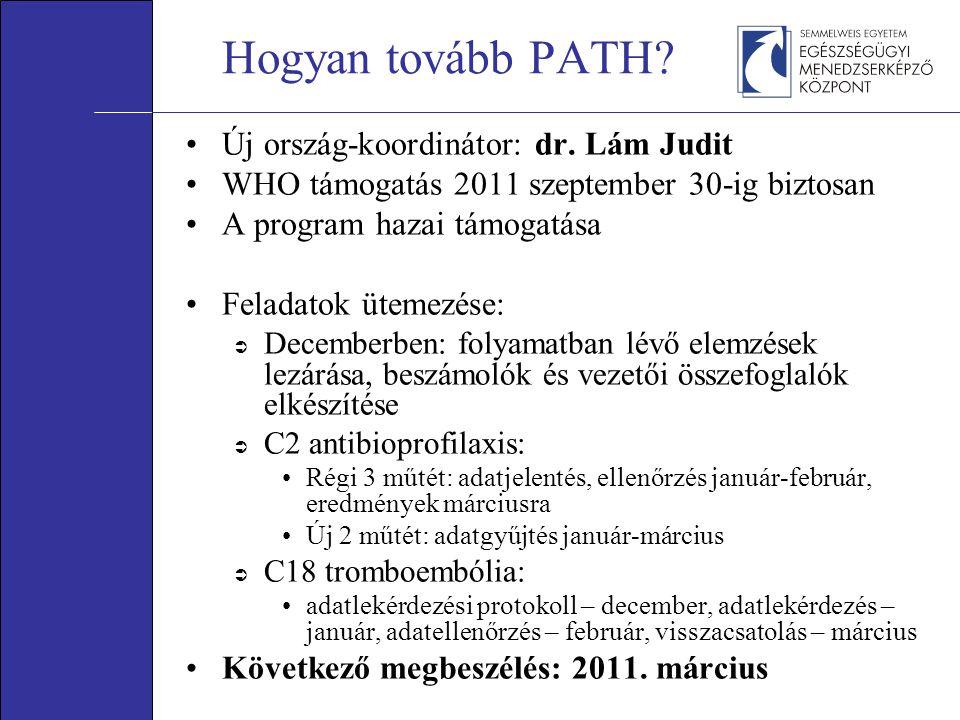 Hogyan tovább PATH? •Új ország-koordinátor: dr. Lám Judit •WHO támogatás 2011 szeptember 30-ig biztosan •A program hazai támogatása •Feladatok ütemezé