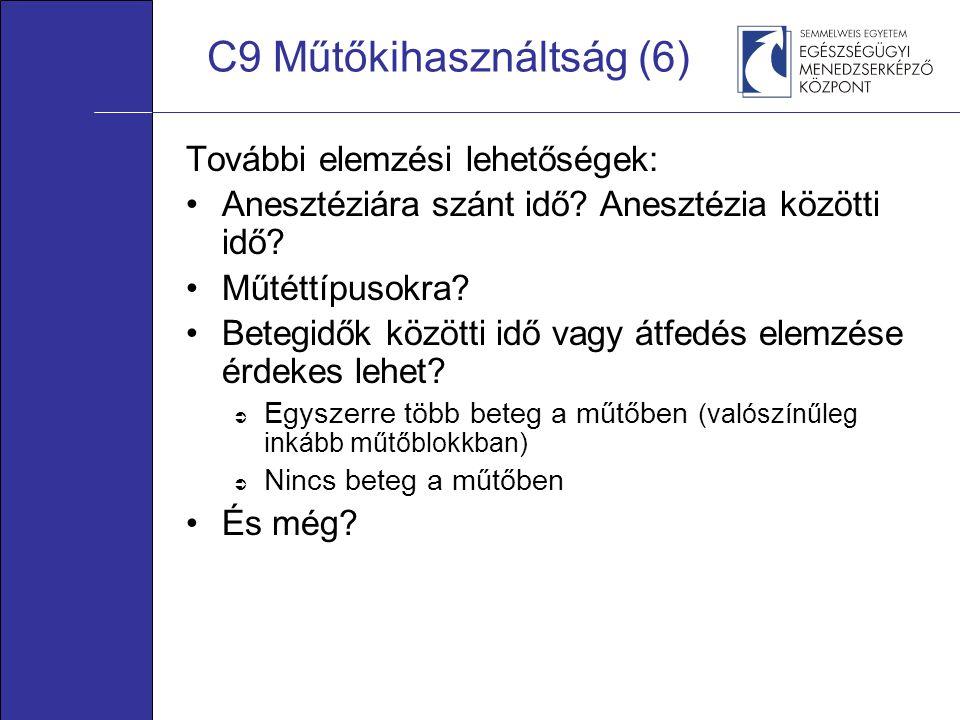 C9 Műtőkihasználtság (6) További elemzési lehetőségek: •Anesztéziára szánt idő? Anesztézia közötti idő? •Műtéttípusokra? •Betegidők közötti idő vagy á