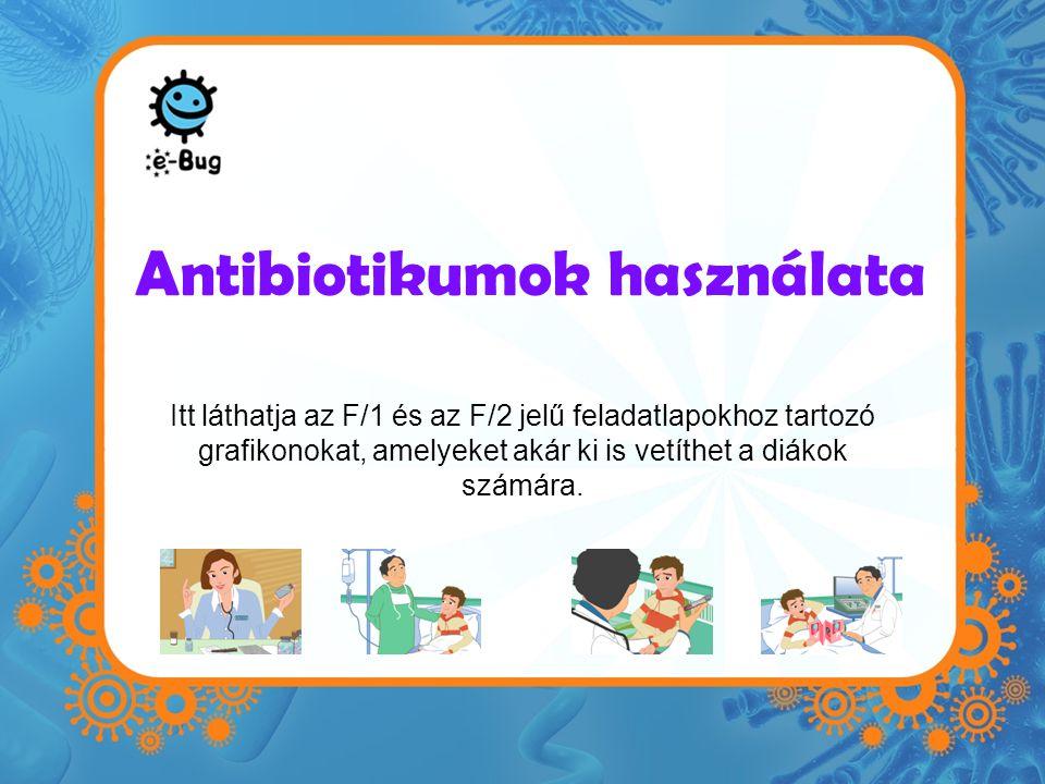 Antibiotikumok használata Itt láthatja az F/1 és az F/2 jelű feladatlapokhoz tartozó grafikonokat, amelyeket akár ki is vetíthet a diákok számára.