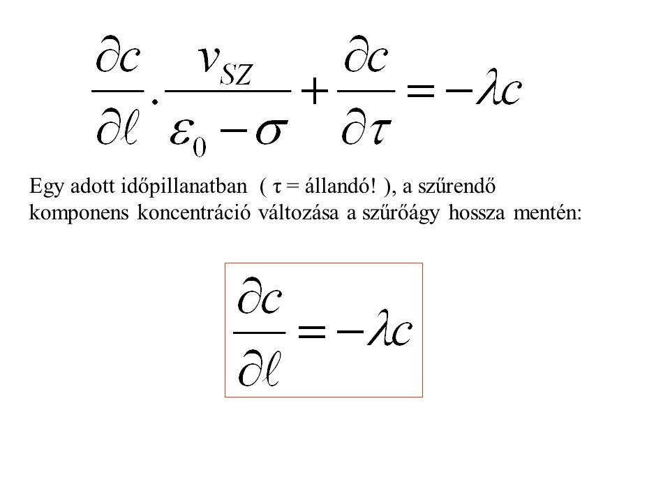 Egy adott időpillanatban ( τ = állandó.