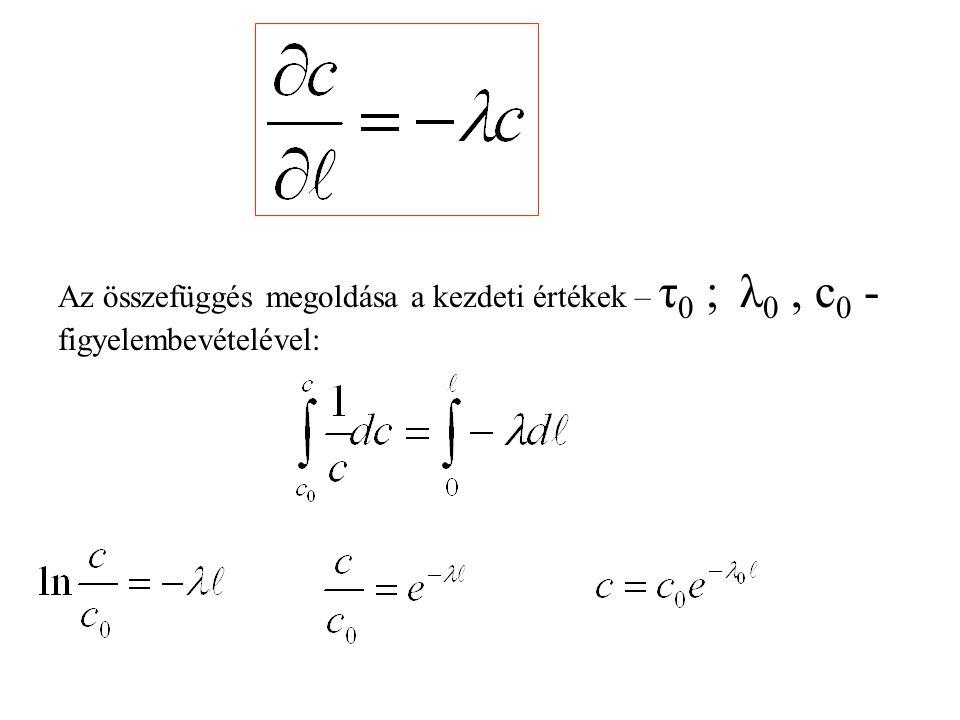 Az összefüggés megoldása a kezdeti értékek – τ 0 ; λ 0, c 0 - figyelembevételével: