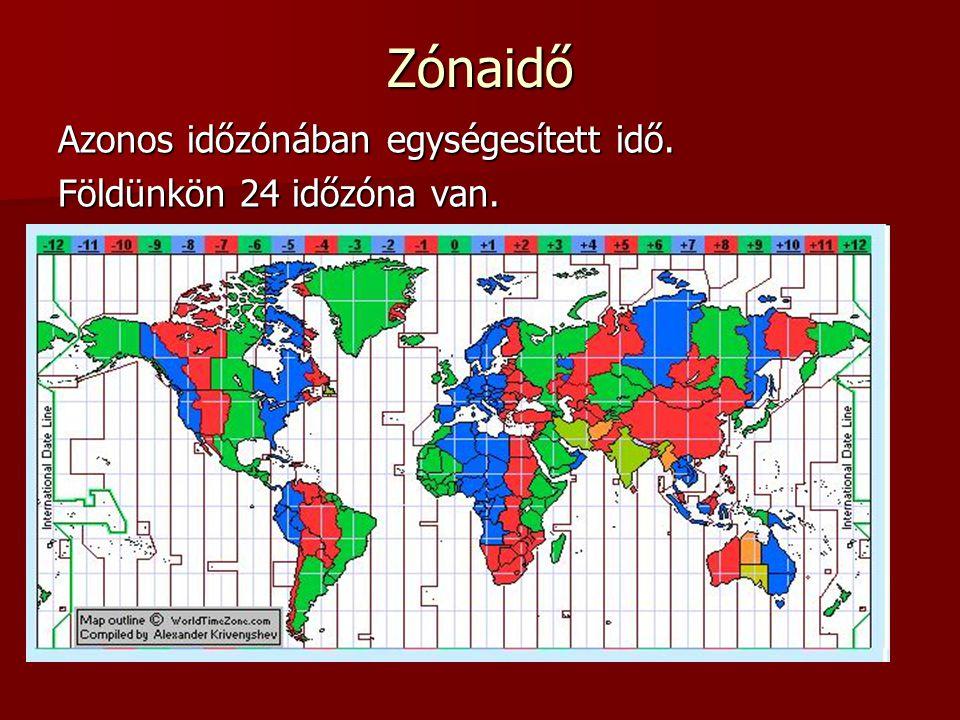 Zónaidő Azonos időzónában egységesített idő. Földünkön 24 időzóna van.