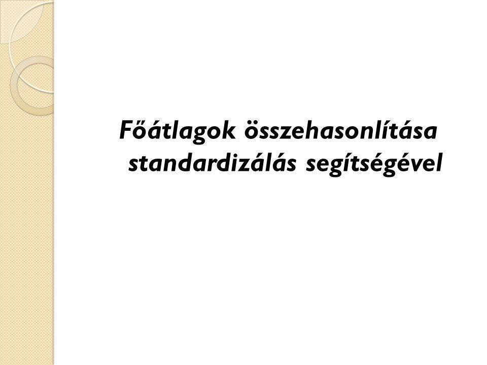 Főátlagok összehasonlítása standardizálás segítségével