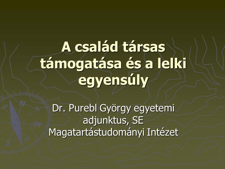 A család társas támogatása és a lelki egyensúly Dr. Purebl György egyetemi adjunktus, SE Magatartástudományi Intézet