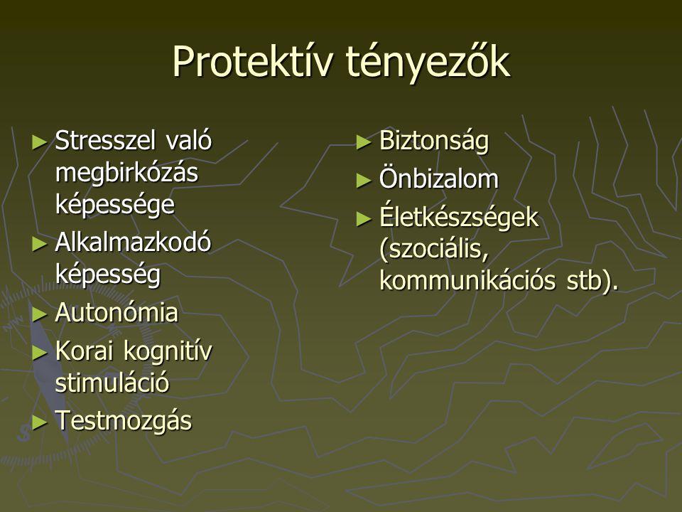 Protektív tényezők ► Stresszel való megbirkózás képessége ► Alkalmazkodó képesség ► Autonómia ► Korai kognitív stimuláció ► Testmozgás ► Biztonság ► Ö