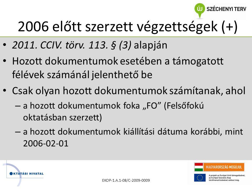 2006 előtt szerzett végzettségek (+) • 2011. CCIV.