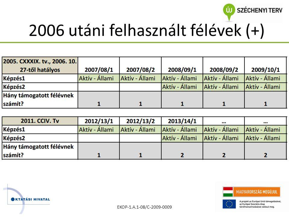 2006 utáni felhasznált félévek (+) EKOP-1.A.1-08/C-2009-0009