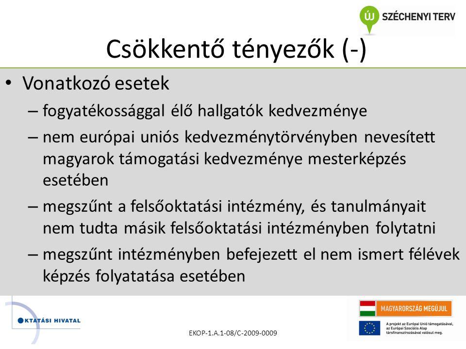Csökkentő tényezők (-) • Vonatkozó esetek – fogyatékossággal élő hallgatók kedvezménye – nem európai uniós kedvezménytörvényben nevesített magyarok támogatási kedvezménye mesterképzés esetében – megszűnt a felsőoktatási intézmény, és tanulmányait nem tudta másik felsőoktatási intézményben folytatni – megszűnt intézményben befejezett el nem ismert félévek képzés folyatatása esetében EKOP-1.A.1-08/C-2009-0009