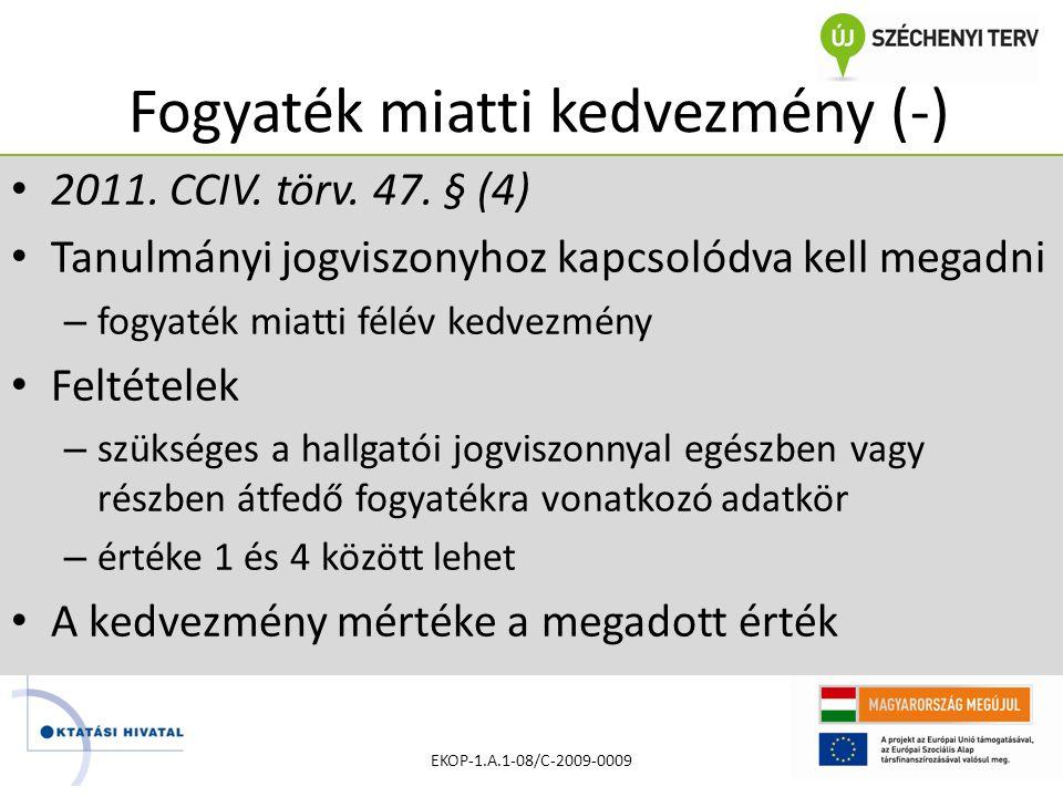 Fogyaték miatti kedvezmény (-) • 2011. CCIV. törv.