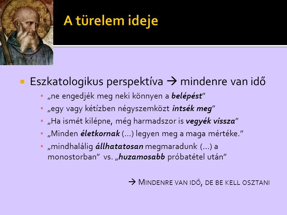 """ Eszkatologikus perspektíva  mindenre van idő ▪ """"ne engedjék meg neki könnyen a belépést"""" ▪ """"egy vagy kétízben négyszemközt intsék meg"""" ▪ """"Ha ismét"""