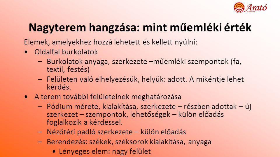 6 6 Átépítés előtti teremakusztikai paraméterek • Előzmény • Magyarország akusztikai örökségének megőrzése • Teremakusztikai mérési módszerek korszerűsítése (BME TDK) • Mérés • ENTEL – LFZE Együttműködési megállapodás • 2005.