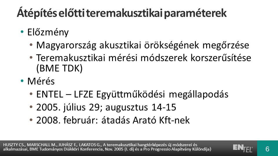 6 6 Átépítés előtti teremakusztikai paraméterek • Előzmény • Magyarország akusztikai örökségének megőrzése • Teremakusztikai mérési módszerek korszerű