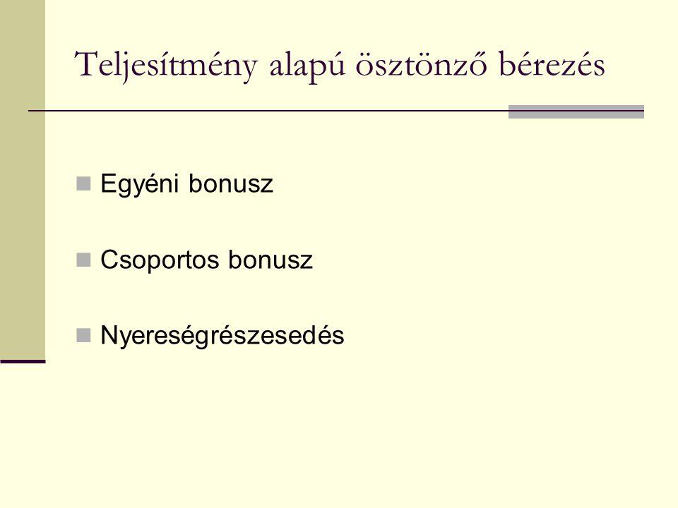 Teljesítmény alapú ösztönző bérezés  Egyéni bonusz  Csoportos bonusz  Nyereségrészesedés