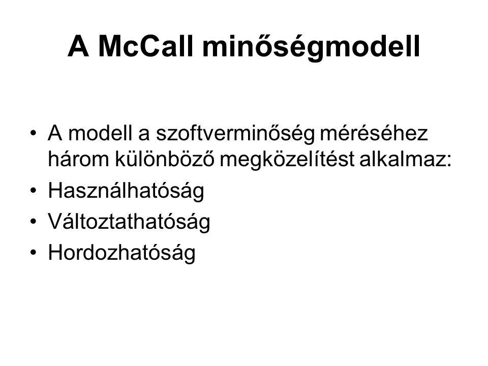 A McCall minőségmodell •A modell a szoftverminőség méréséhez három különböző megközelítést alkalmaz: •Használhatóság •Változtathatóság •Hordozhatóság