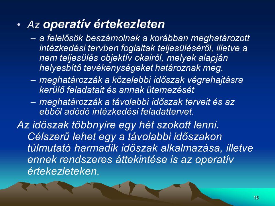15 •Az operatív értekezleten –a felelősök beszámolnak a korábban meghatározott intézkedési tervben foglaltak teljesüléséről, illetve a nem teljesülés