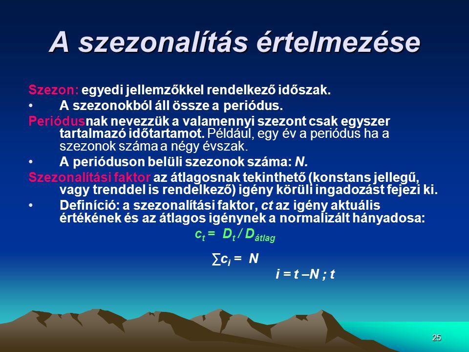 25 A szezonalítás értelmezése Szezon: egyedi jellemzőkkel rendelkező időszak. •A szezonokból áll össze a periódus. Periódusnak nevezzük a valamennyi s