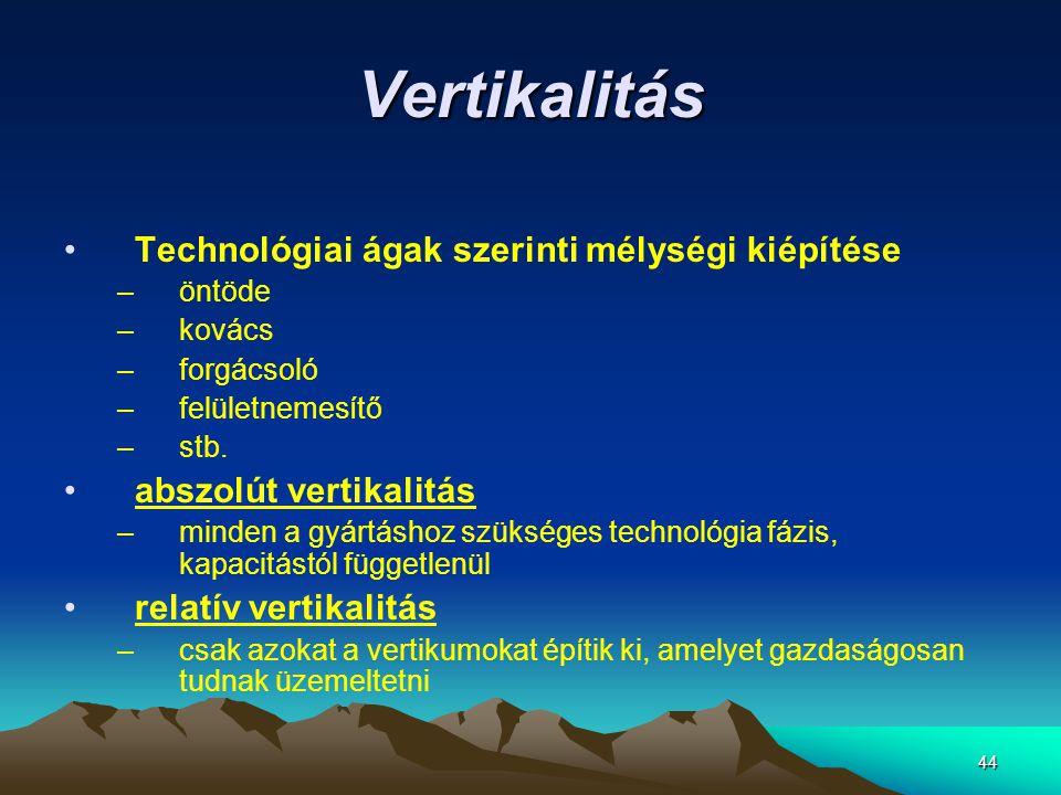 44 Vertikalitás •Technológiai ágak szerinti mélységi kiépítése –öntöde –kovács –forgácsoló –felületnemesítő –stb. •abszolút vertikalitás –minden a gyá