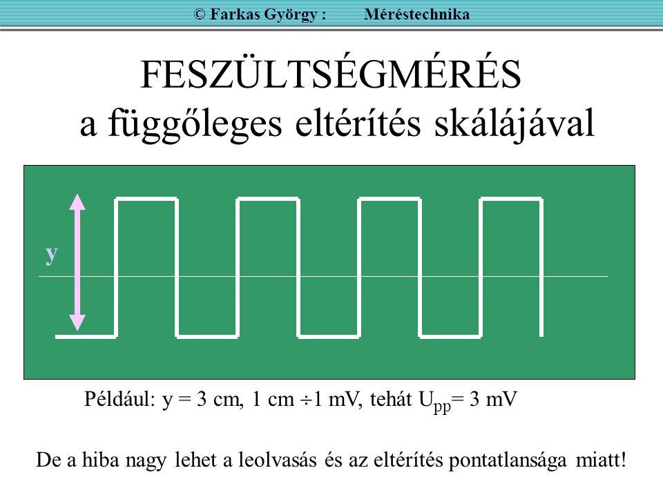 FESZÜLTSÉGMÉRÉS a függőleges eltérítés skálájával © Farkas György : Méréstechnika Például: y = 3 cm, 1 cm  1 mV, tehát U pp = 3 mV y De a hiba nagy lehet a leolvasás és az eltérítés pontatlansága miatt!