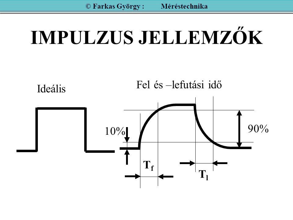 IMPULZUS JELLEMZŐK © Farkas György : Méréstechnika Ideális 10% 90% Fel és –lefutási idő TfTf TlTl