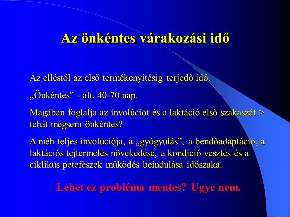 Egy gyakorlati példa Egy 907 tehenes állományban Információ: Dr Csáki Tamás Mobil: 06/30/3694035 Tel/Fax: 22/430-518 Email: drcsaki@mail.alba.hu 2004.november2005.májusKülönbség Üres tehenek száma és aránya 298 / 33,0%201 / 22,1%-97 / +10,9% Ellés óta eltelt napok száma101 nap92 nap-9 nap 60 napon belül termékenyített tehenek 257 / 28,5%208 / 22,9%-49 db Vemhes tehenek száma és aránya 348 / 38,5%499 / 55,0%+151 db Produktivitás66,1%74,8%+38,7% Átl.