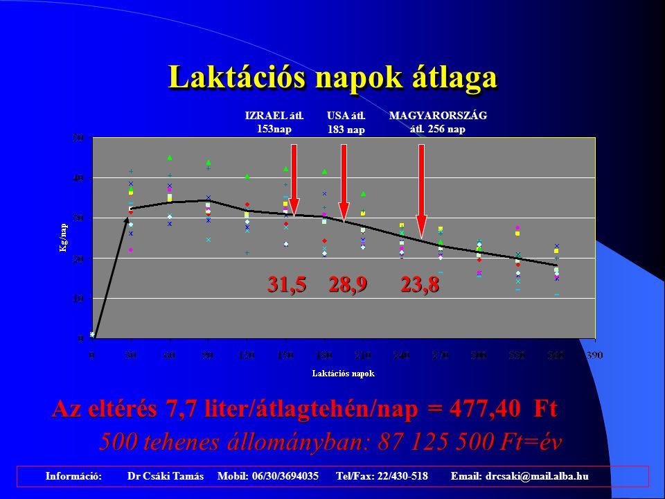 A laktáció pénzügyi mérlege Információ: Dr Csáki Tamás Mobil: 06/30/3694035 Tel/Fax: 22/430-518 Email: drcsaki@mail.alba.hu