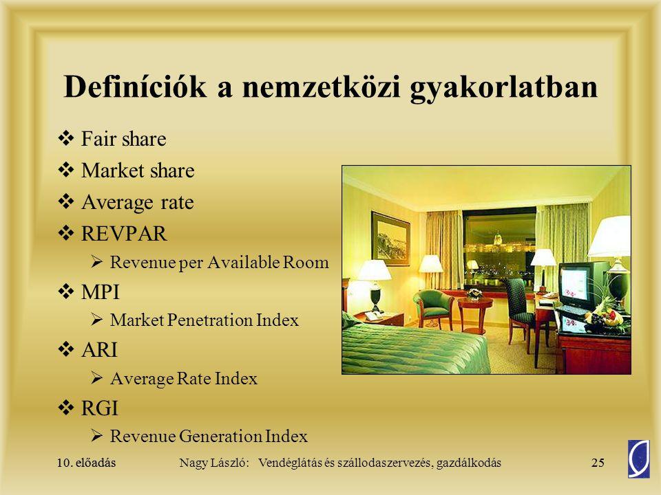 10. előadás25Nagy László: Vendéglátás és szállodaszervezés, gazdálkodás10. előadás25 Definíciók a nemzetközi gyakorlatban  Fair share  Market share