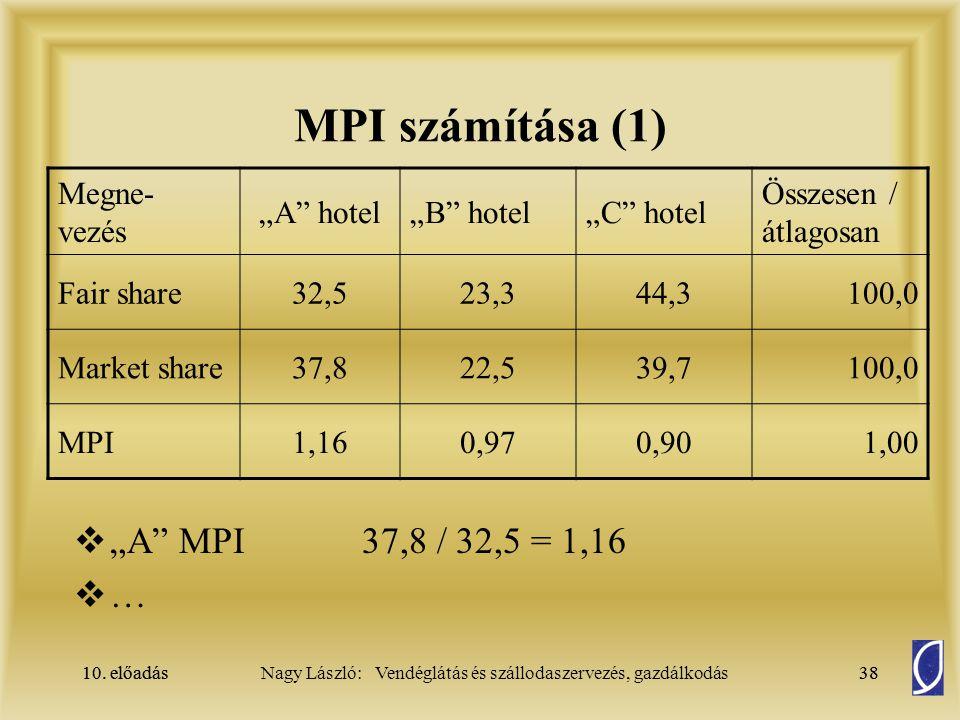 """10. előadás38Nagy László: Vendéglátás és szállodaszervezés, gazdálkodás10. előadás38 MPI számítása (1)  """"A"""" MPI37,8 / 32,5 = 1,16  … Megne- vezés """"A"""