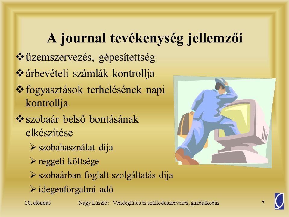 10. előadás7Nagy László: Vendéglátás és szállodaszervezés, gazdálkodás10. előadás7 A journal tevékenység jellemzői  üzemszervezés, gépesítettség  ár